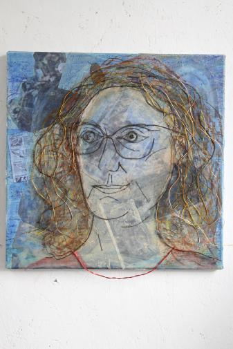 Self portrait (mixed media and wire)